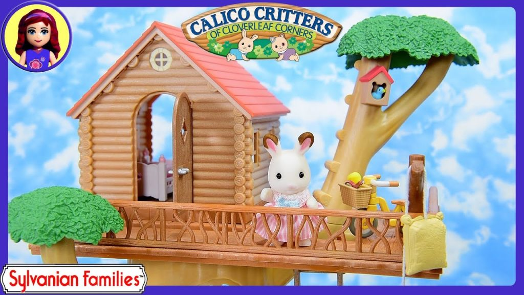 Sylvanian Families Calico Critters Tree House Gift Set House Tour with Log Cabin Kids Toys