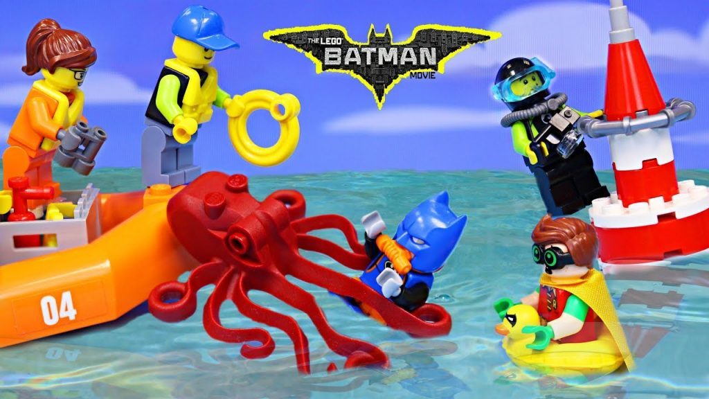 Lego Batman Giant Octopus Attack Rescuing the City Legos Coast Guard Catamaran and Scuba Diver