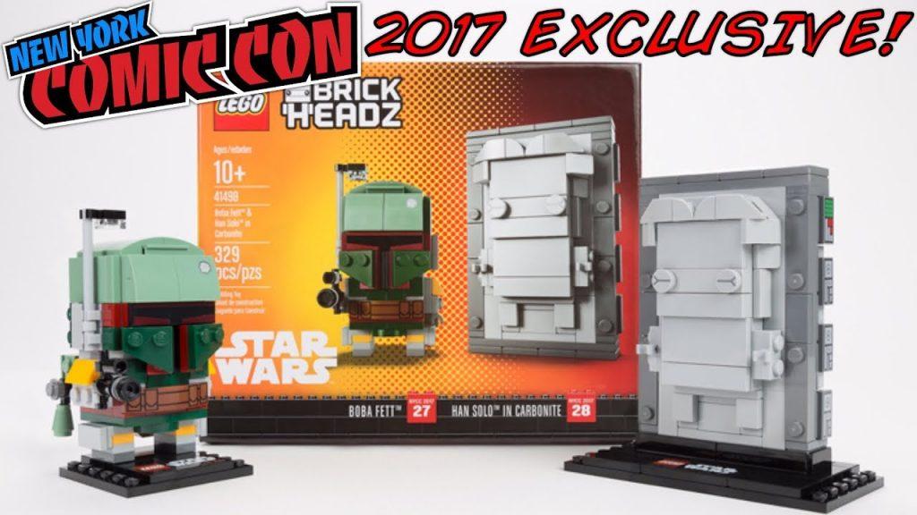 LEGO Star Wars BRICKHEADZ NYCC 2017 EXCLUSIVE! Boba Fett & Han Solo In Carbonite 41498!
