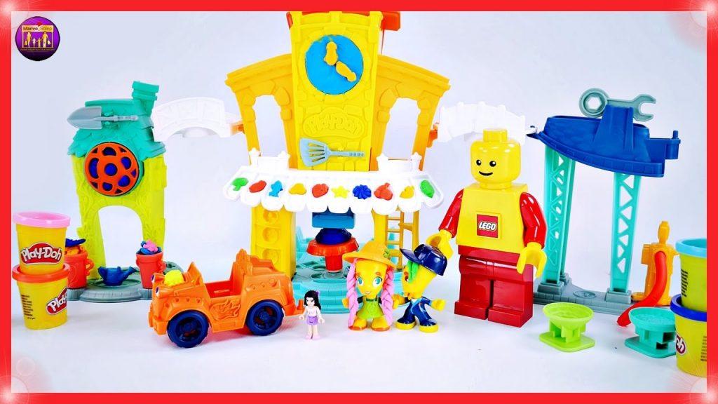 Play-Doh Town Centrum 3w1 – Śmieszna zabawa ciastoliną z klockami Lego Friends Emmą i Legusiem – 4K