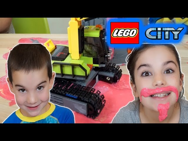 Lego City Volcano Exploration Trucks – The Floor is Lava Pretend Play with Slime!