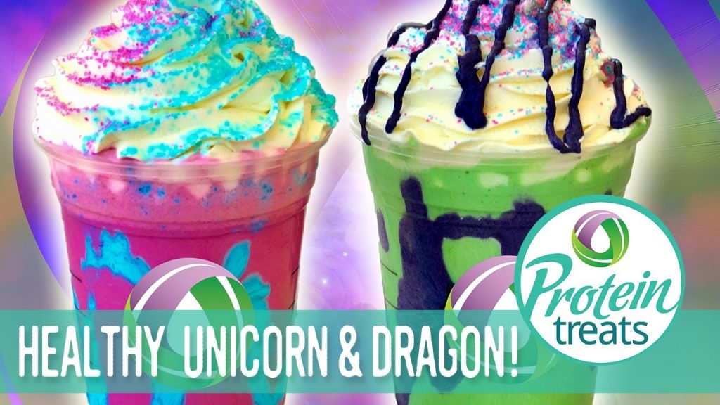 DIY Starbucks Copycat Unicorn & Dragon Frappuccino Made Healthy! Protein Treats by Nutracelle