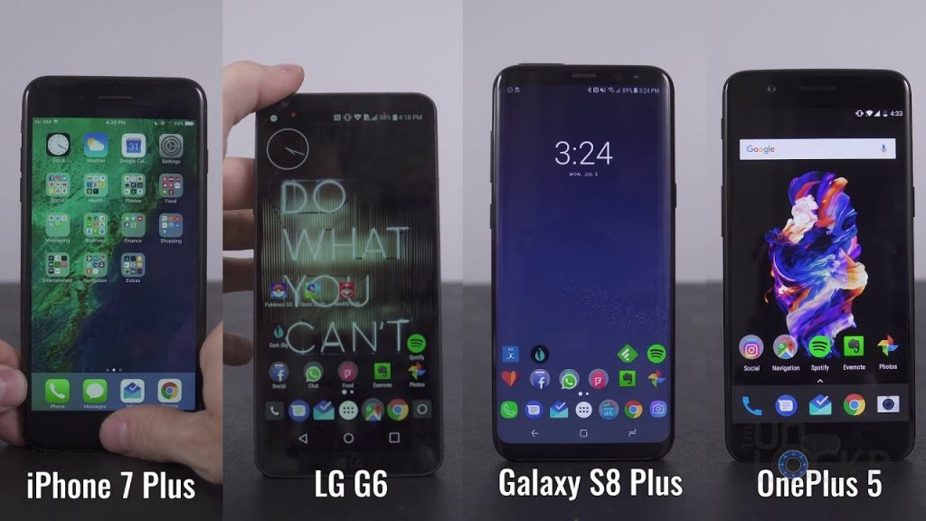 iPhone 7+ vs OnePlus 5 vs Samsung Galaxy S8+ vs LG G6 Review and Comparison