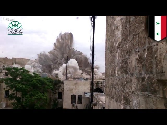 Syrian war: Huge bomb explosion destroys Aleppo hotel used by Assad's forces