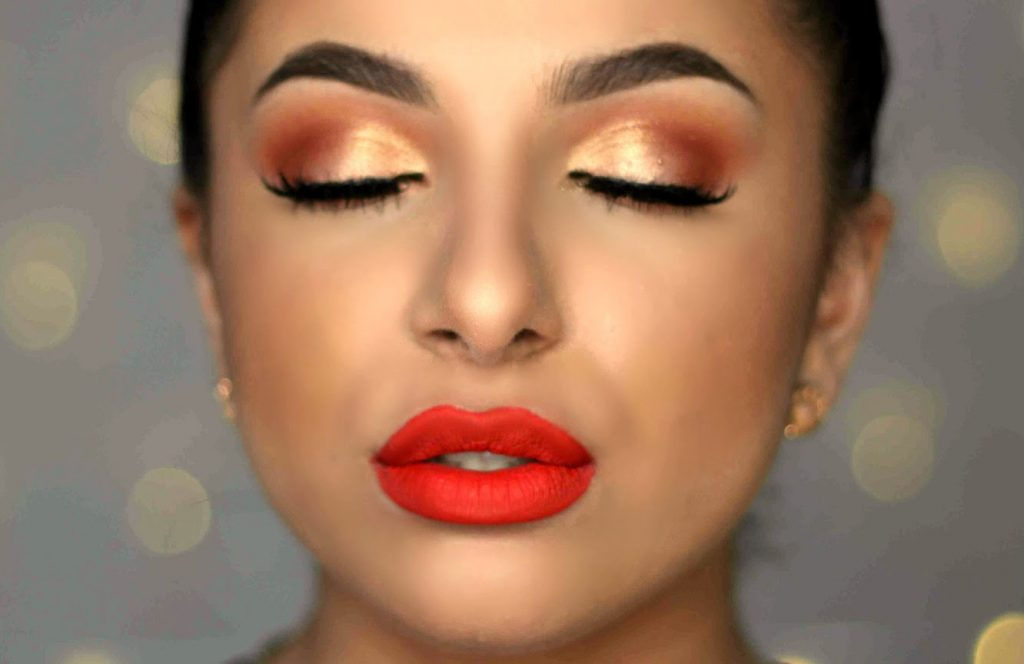 Warm Eyes & Bold Orange Lip Makeup Tutorial | Makeup By Leyla