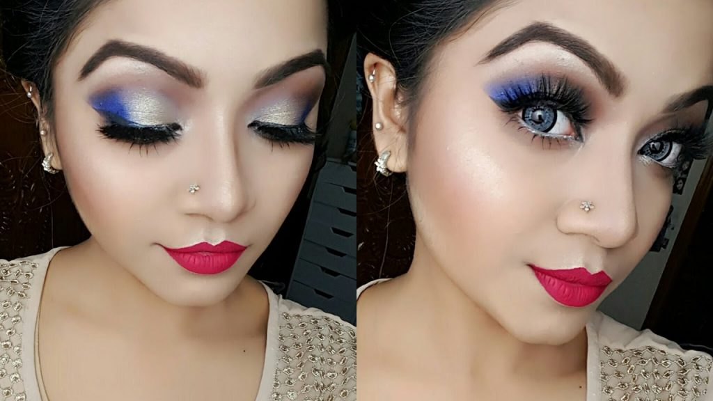 Electric Blue and Gold Eye Makeup Tutorial | NYE Party Makeup Tutorial | Makeup Maniac By Linda