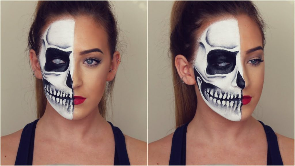 Half Skull Halloween Makeup Tutorial!