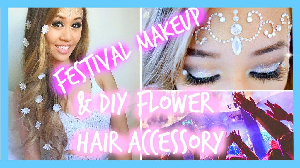 ❀MUSIC FESTIVAL/RAVE MAKEUP & DIY FLOWER HAIR ACCESSORY❀