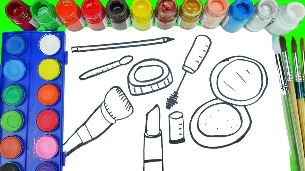Coloring Makeup Cosmetics Makeover Accessories Watercolor Paint Coloring Pages Coloring For Girls