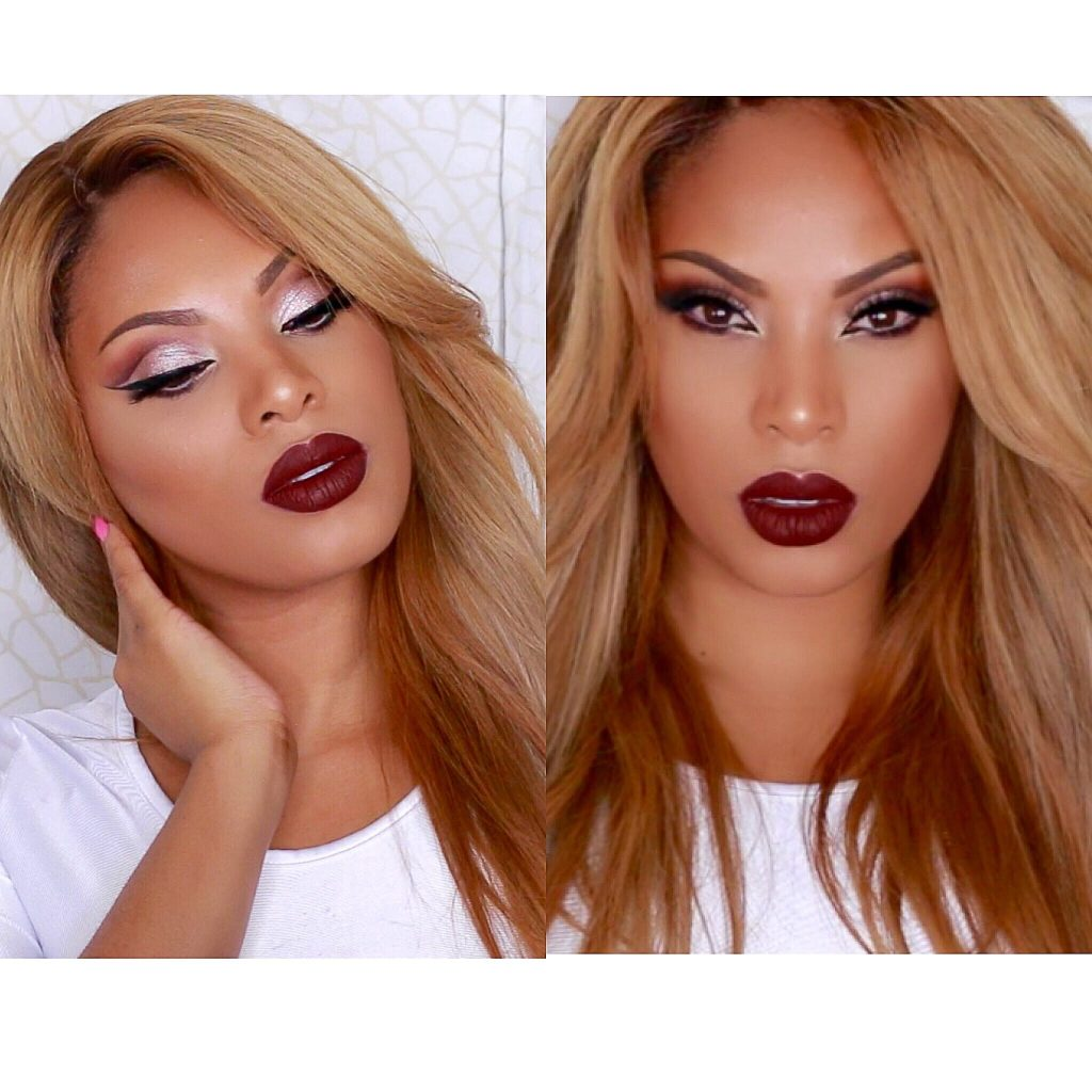 Dramatic  Cut Crease with Vampy lip Makeup Tutorial