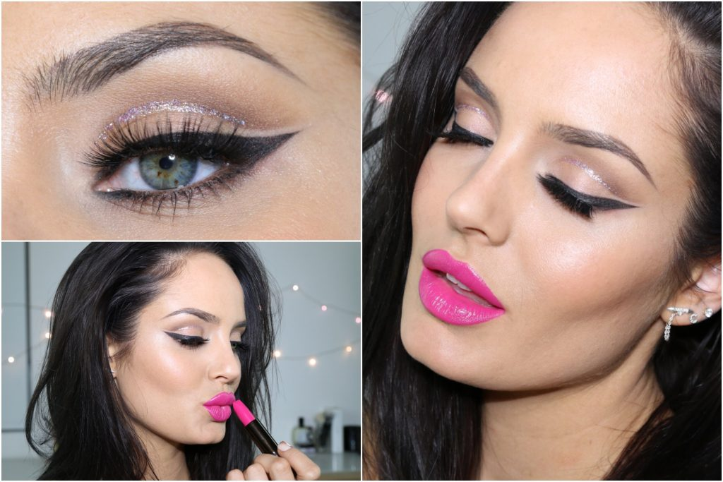Glitter Cut Crease with Pink Lip! Eid Makeup Tutorial \ ChloeMorello