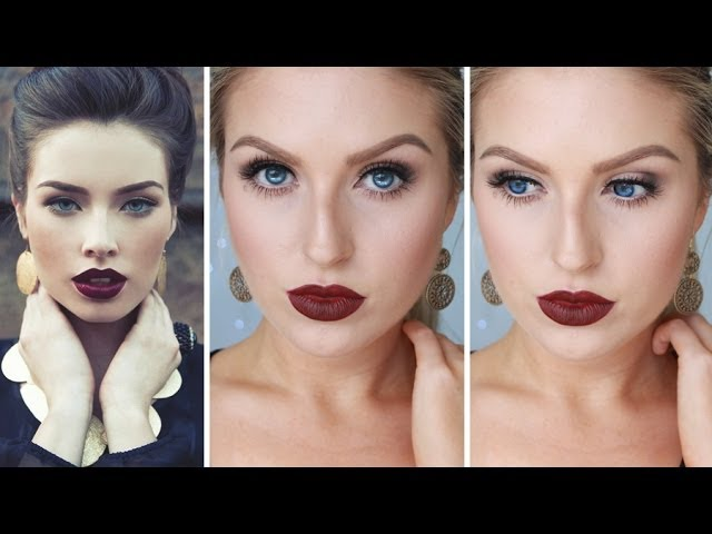 Glam Fall/Autumn Makeup ♡ Bold Dark Red Lips – Shaaanxo