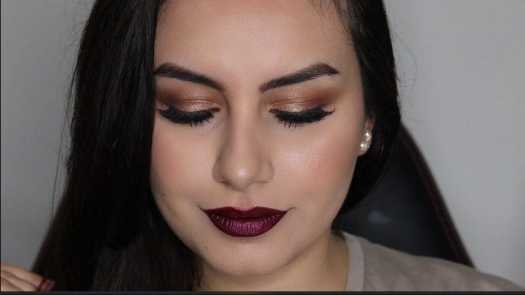 مكياج مناسبات برونزي مع احمر شفاه داكن 💄 Bronze eye makeup with dark lipstick