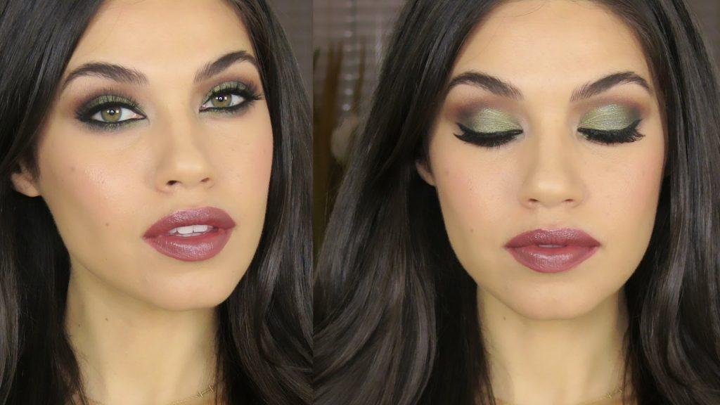TUTORIAL   Green Brown Smokey Eye Makeup   Eman