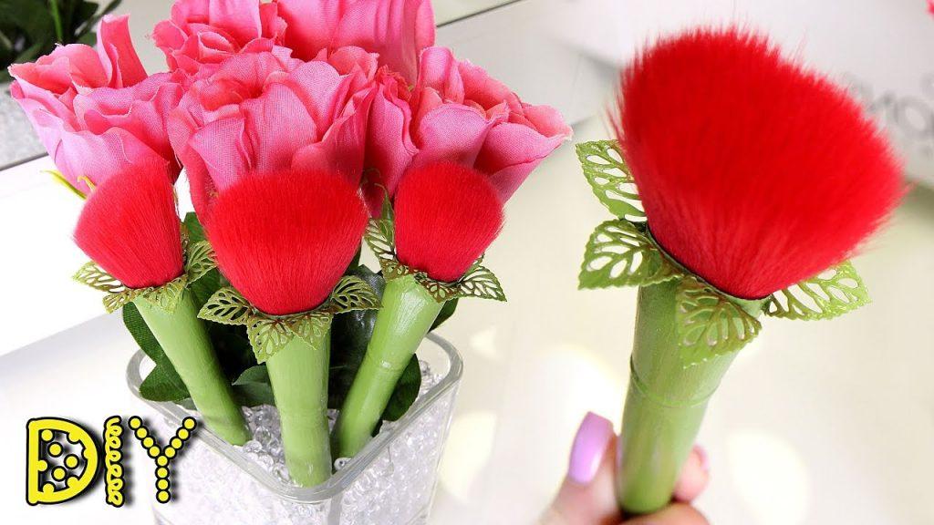 DIY Rose Makeup Brushes – EASY & CUTE || Lucykiins