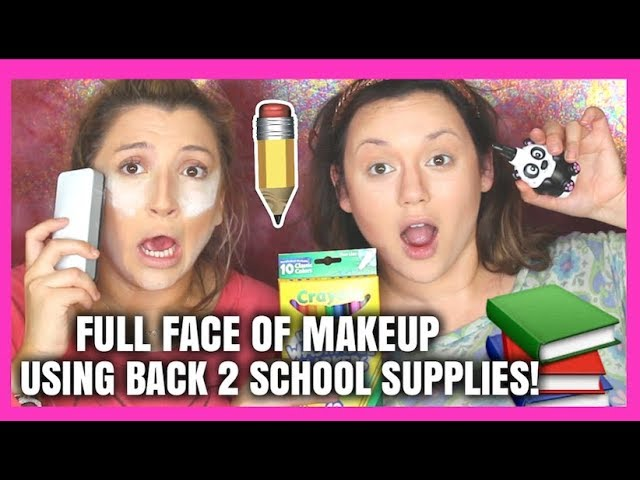 FULL FACE OF MAKEUP USING BACK TO SCHOOL SUPPLIES! Kat Sketch X Ashley Bluedef