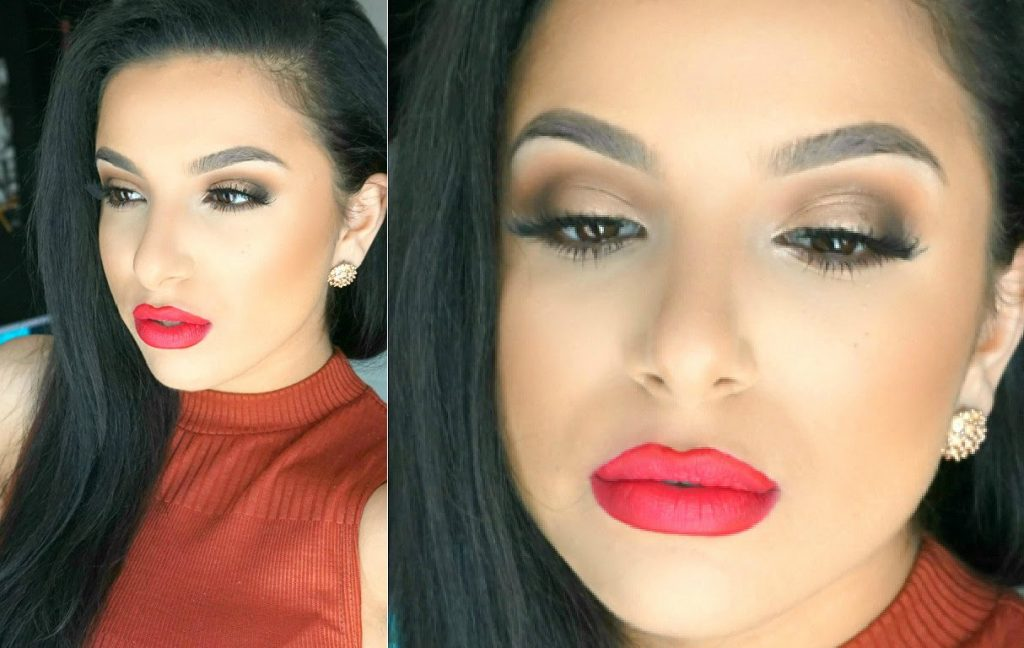 Soft Brown Eyes & Red Lip Tutorial | Makeup By Leyla