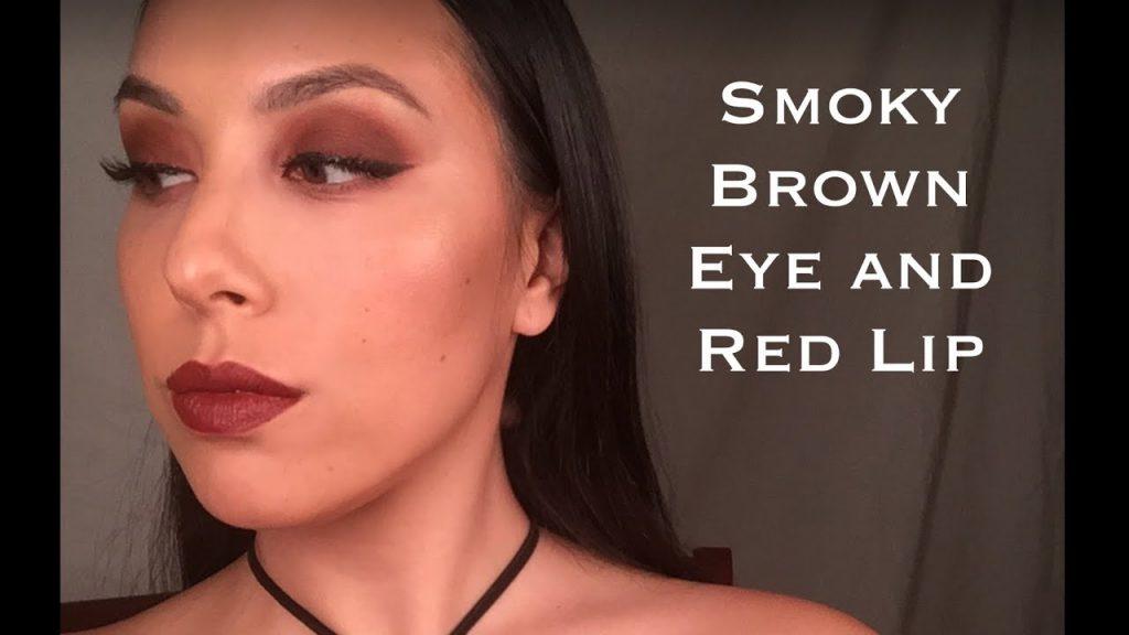 Brown Smoky Eye and Burgundy Lip Makeup Tutorial