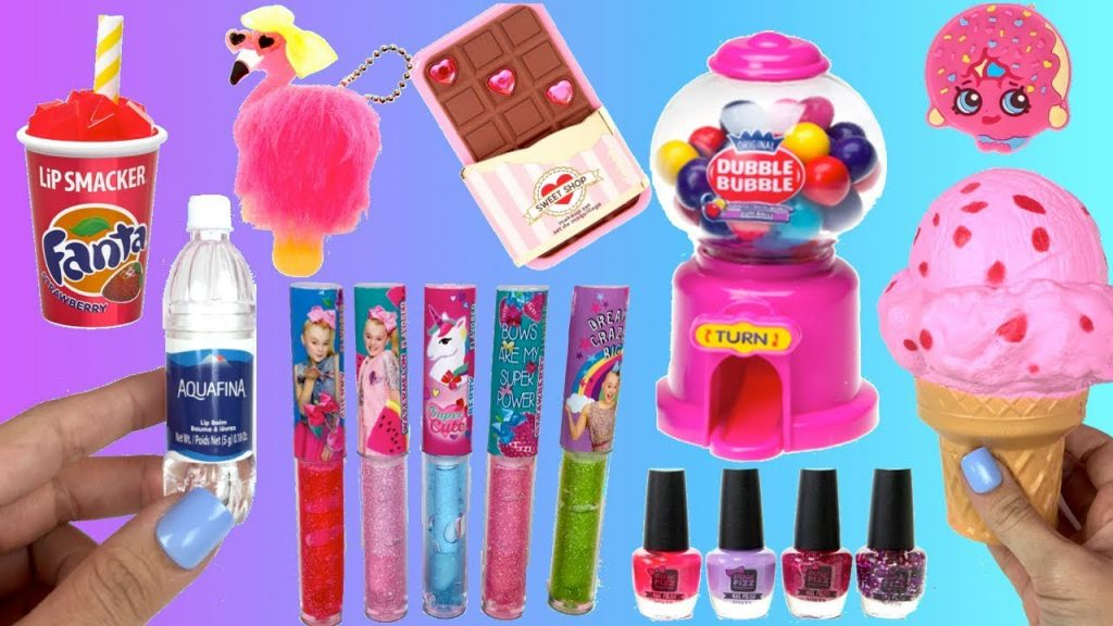 Jojo Siwa Make up! Soda Lip Gloss, Bottle Lip Balm, Squishies, Bubble Gum Machine