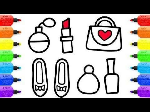 How to Draw Baby accessories and Makeup for women Coloring Book and drawing for Kids