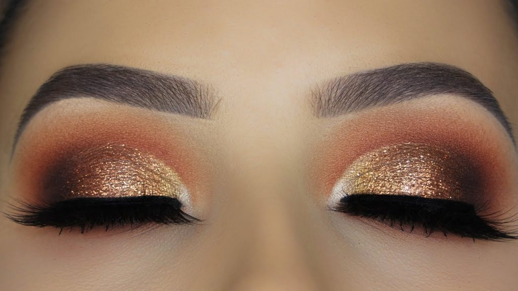 Copper Glitter Eye Makeup Tutorial