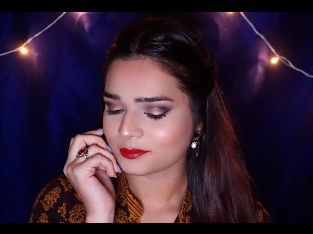 Navratri Makeup Tutorial ~ GOLD CUT CREASE with 3 Lip options
