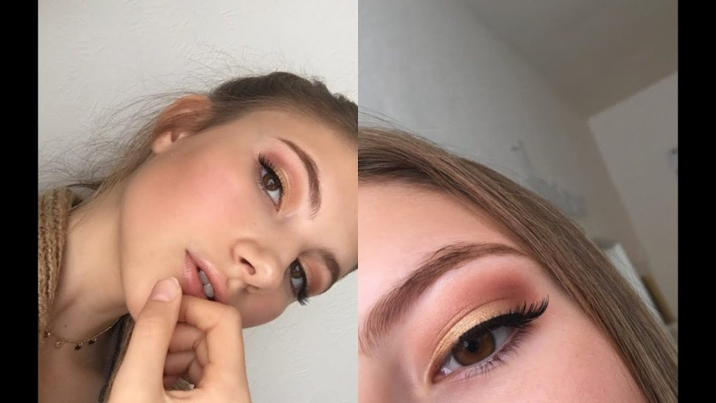 AUTUMN MAKEUP LOOK! GOLD EYES & GLOSSY LIPS