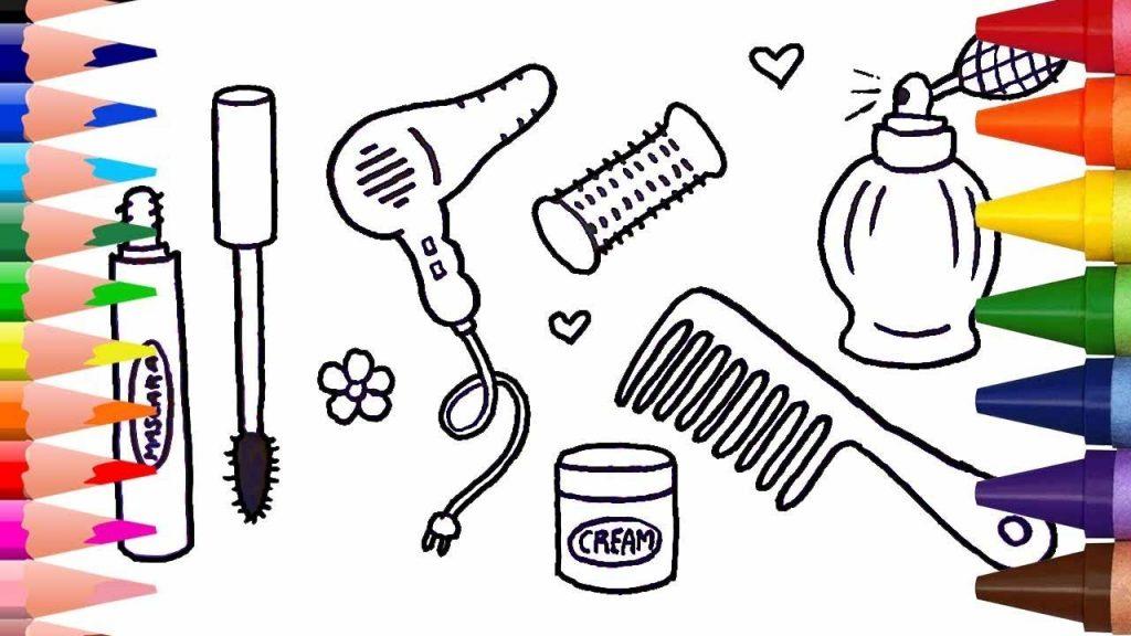تعلم كيف ترسم مجموعة ماكياج للبنات- Makeup Set for Girls –  تعليم الرسم للاطفال