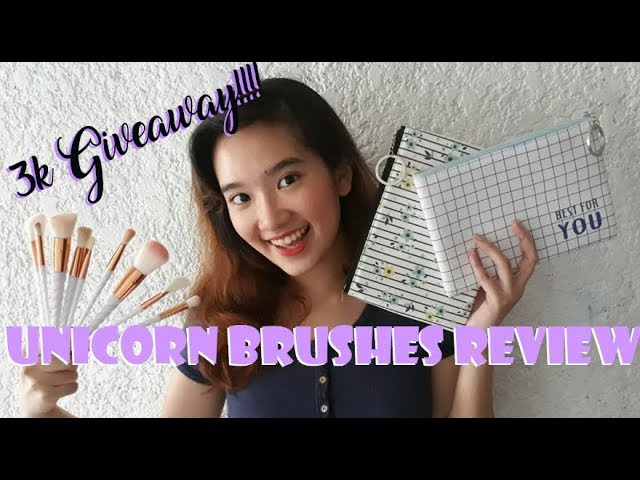 UNICORN BRUSHES FIRST IMPRESSIONS + MAKEUP BRUSH GIVEAWAY (Happy 3k Subscribers!!)| Philippines