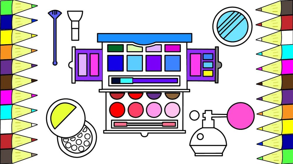 How to Draw Coloring Pages Set Of Accessories Makeup for Baby | Art Colours for Kids