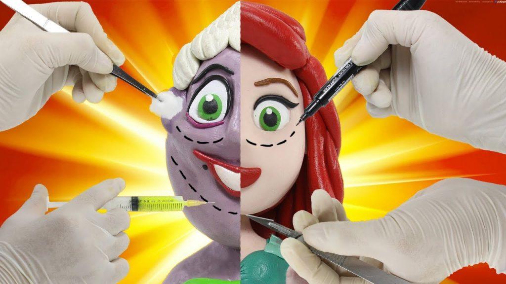 Ursula Becomes Ariel | Disney Princess Makeup by Surgery Play Doh Cartoon Stop Motion