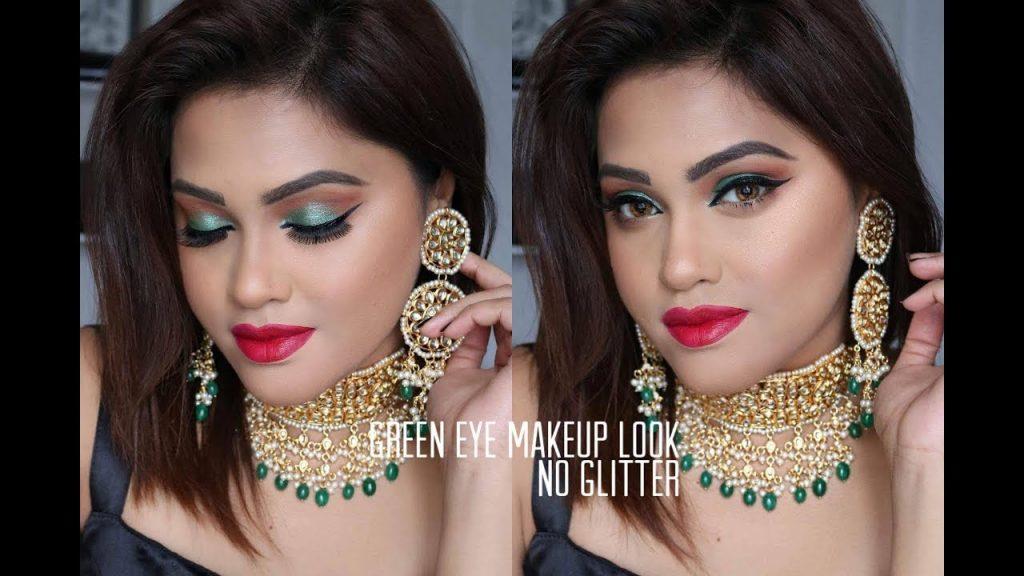 Green shimmery eye Makeup Look | No Glitter | GRWM
