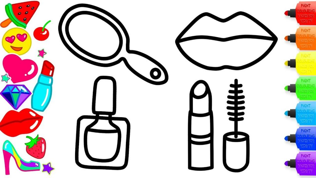 👄 Coloring Accessories Makeup for Girls 💄 How to Draw Lipstick, Nail Polish, Mirror and Lip