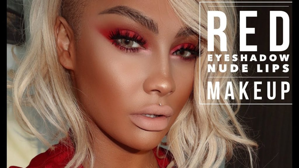 HOT FIRE MAKEUP TUTORIAL: RED SMOKEY EYE SHADOW, NUDE LIPS | SONJDRADELUXE