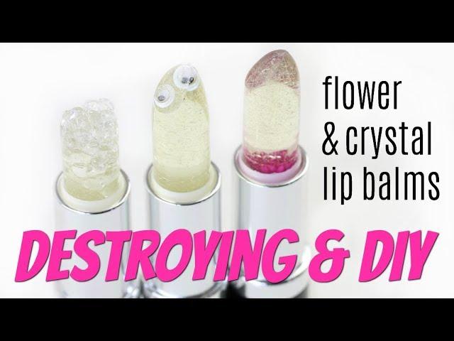Destroying & DIY Flower & Crystal Lip Balms