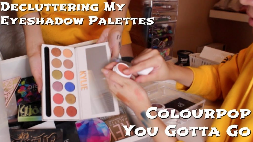DECLUTTERING MY MAKEUP PT  2   eye products, palettes, and colourpop