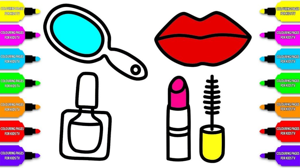 How to draw Coloring Pages#85: Accessories Makeup for Girls/ Lipstick, Nail Polish, Mirror and Lip