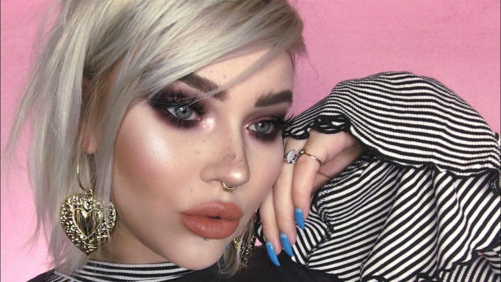 chatty full face makeup tutorial / purple smokey eye