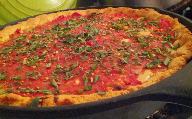 Deep Dish Pizza w/ Cornmeal crust by Howard Seth Cohen