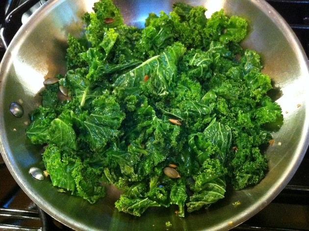 Kale with Garlic & Toasted Pumpkin Seeds by Tara