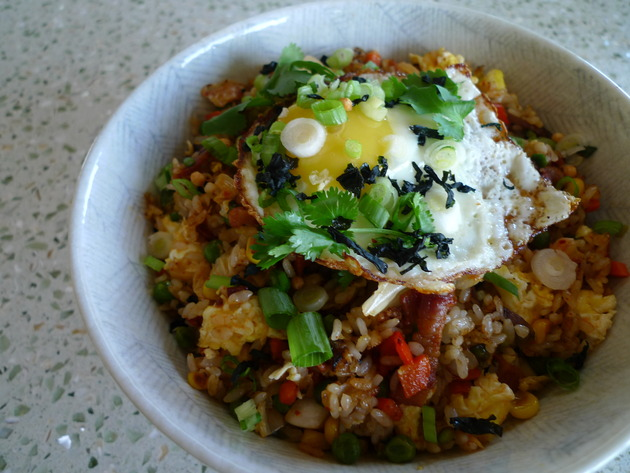 Bacon kimchi fried rice has been making the rounds, and I'm happy to ...
