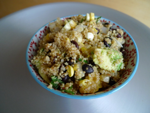 quinoa with black beans, avocado, and corn by joanie
