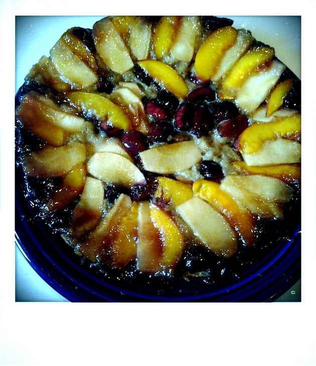 Nectarine Cherry Apple Upside-Down Cake by alchemisty