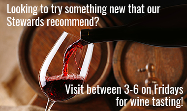 Wine Tasting 3-6 on Friday