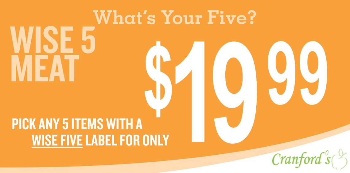 Pick any 5 items with a WISE FIVE label for only $19.99.