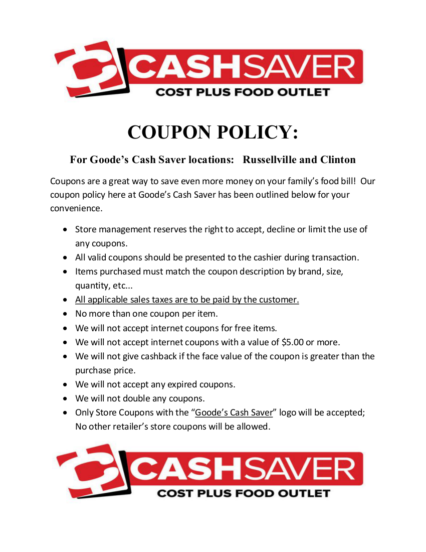 Goode's Cash Saver Coupon Policy