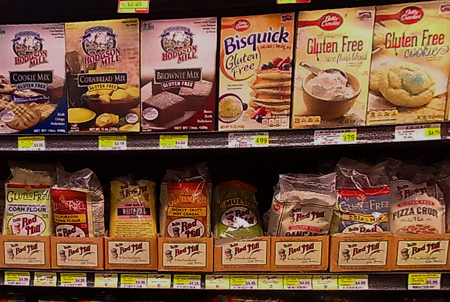 Photo of Gluten Free items on shelf.