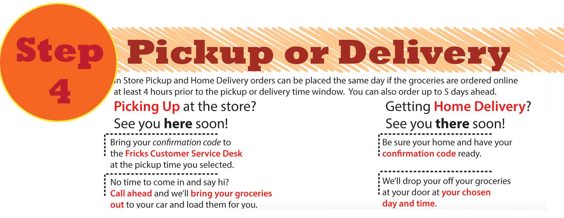 Step 4: Pickup or Delivery? In-store pickup and home delivery orders can be placed the same day if the groceries are ordered online at least 4 hours prior to the pickup or delivery time window. You can also order up to 5 days ahead. Picking up at the store-bring your confirmation code to the Fricks customer service desk at the pickup time you selected. Getting home delivery-Be sure your home and have your confirmation code ready. We'll drop off your groceries at your door at your chosen day and time.