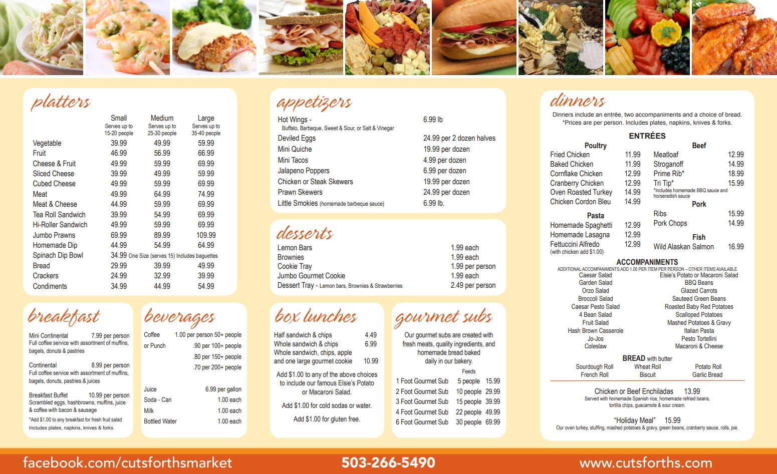 Cutsforth's Catering Menu Page 1