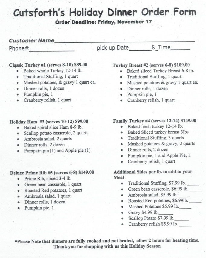 Thanksgiving Dinner Order Form